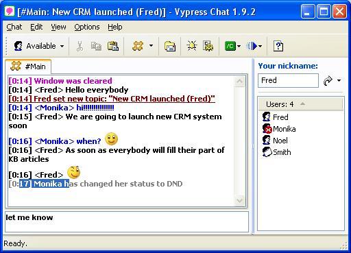 Скриншоты программы Vypress Chat.