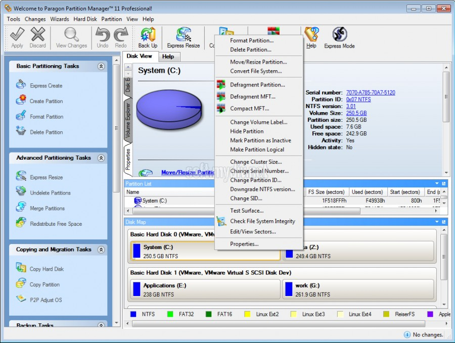 Скриншоты Paragon Partition Manager Professional 11.0 Build 9887.