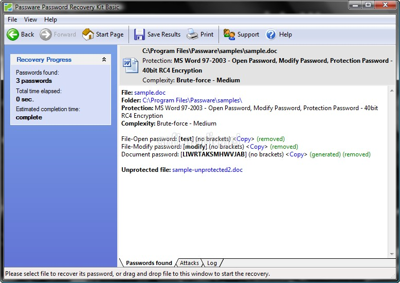 Скриншоты программы Word Password Recovery Key.