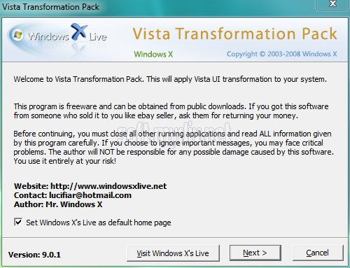 Windows Transformation Pack For Vista