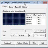 Скриншот Freegate Professional - список прокси серверов
