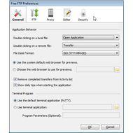 Скриншот CoffeeCup Free FTP - настройки программы