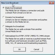 Скриншот Unreal Media Server - настройка нового вещания