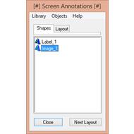 Окно управления аннотациями и слоями