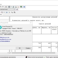 Информация о версии и окно отчетов