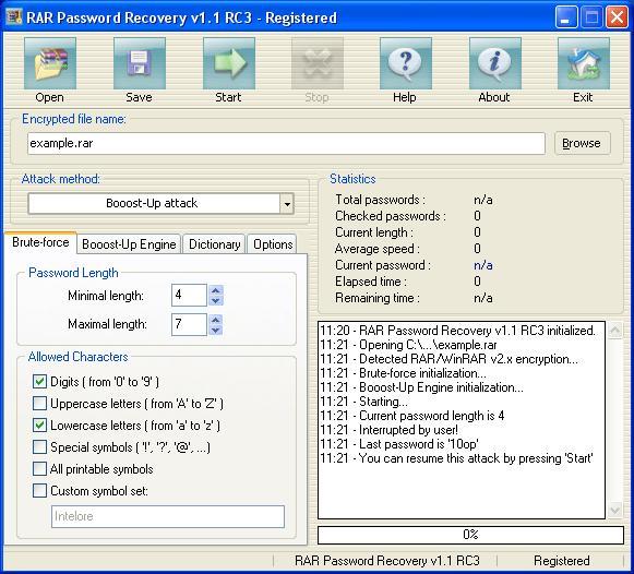 Программа для взлома (подбора) паролей к RAR-архивам. Размер 1.07 MB