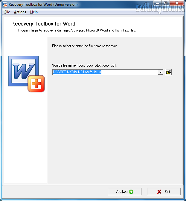 Recovery Toolbox for Word 1.1.8 - Программа Recovery Toolbox for Word